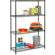 """Nexel Best Value Wire Shelving Unit 48""""W x 18""""D x 74""""H (400 lb shelf cap) Black Epoxy"""
