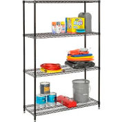 """Nexel Best Value Wire Shelving Unit 48""""W x 24""""D x 74""""H (400 lb shelf cap) Black Epoxy"""
