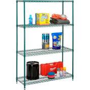 "Nexel Best Value Wire Shelving Unit 48""W x 18""D x 74""H (400 lb shelf cap) Green Epoxy"