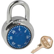 American Lock® No. A400K Padlock Stainless Steel Combination Padlock, Key Access, Blue - Pkg Qty 25