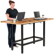 "Standing Height Table with Power - 72""L x 36""W x 42""H - MDF Top"