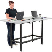 "Bar Height Computer Workstation Table with Power Apron/Charging Outlets 72"" x 36"" Light Gray"