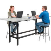 "Bar Height Computer Workstation Table with Power Apron/Charging Outlets 96"" x 36"" Light Gray"