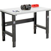 "48""W X 30""D Plastic Laminate Square Edge Workbench - Adjustable Height - Black"