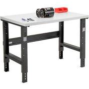 "48""W X 30""D Plastic Laminate Square Edge Workbench - Adjustable Height - Black"