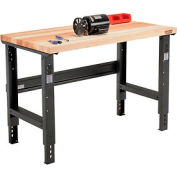"48""W x 30""D Adjustable Height Workbench C-Channel Leg - Maple Butcher Block Square Edge - Black"