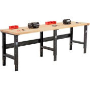 "96""W X 30""D Maple Butcher Block Square Edge Workbench - Adjustable Height - Black"