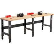 "96""W X 36""D Maple Butcher Block Square Edge Workbench - Adjustable Height - Black"