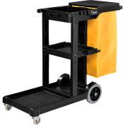 Global™ Janitor Cart Black with 25 Gallon Vinyl Bag