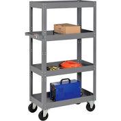 Multi-Level Steel Shelf Truck with 4 Shelves 30 x 16 800 Lb. Capacity