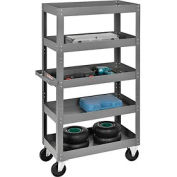 Multi-Level Steel Shelf Truck with 5 Shelves 30 x 16 800 Lb. Capacity