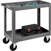 2 Shelf Deep Tray Steel Stock Cart 30x16 800 Lb. Capacity