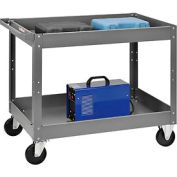 2 Shelf Deep Tray Steel Stock Cart 36x24 500 Lb. Capacity