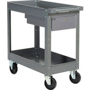 2 Shelf Deep Tray Steel Stock Cart 30x16 500 Lb. Cap. with 1 Drawer