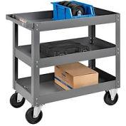 3 Shelf Deep Tray Steel Stock Cart 30x16 800 Lb. Capacity