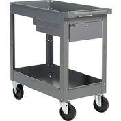 2 Shelf Deep Tray Steel Stock Cart 30x16 800 Lb. Capacity with 1 Drawer