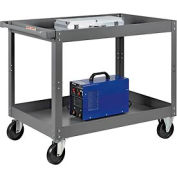 2 Shelf Deep Tray Steel Stock Cart 36x24 800 Lb. Capacity