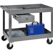 2 Shelf Deep Tray Steel Stock Cart 36x24 500 Lb. Cap. with 1 Drawer