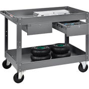 2 Shelf Deep Tray Steel Stock Cart 36x24 500 Lb. Cap with 2 Drawers