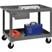 2 Shelf Deep Tray Steel Stock Cart 36x24 800 Lb. Capacity with 1 Drawer