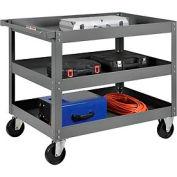 3 Shelf Deep Tray Steel Stock Cart 36x24 800 Lb. Capacity
