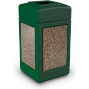 42 Gallon StoneTec® 720354 Square Waste Receptacle - Forest Green w/Riverstone Panels
