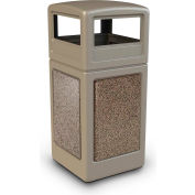 42 Gallon StoneTec® 72041599 Square Receptacle with Dome Lid - Beige w/Riverstone Panels