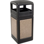 42 Gallon StoneTec® 72045299 Square Receptacle with Dome Lid - Black w/Riverstone Panels