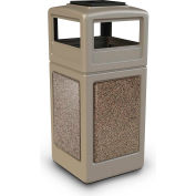 42 Gallon StoneTec® 72051599 Square Receptacle with Ashtray Lid - Beige w/Riverstone Panels