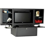 Counter Top Fold Out Computer Cabinet - Black