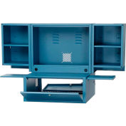 Counter Top Fold Out Computer Cabinet - Blue