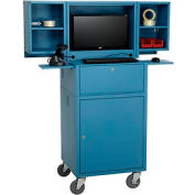 Mobile Fold Out Computer Cabinet - Blue