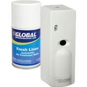 Global™ Automatic Air Freshener Dispenser Starter Kit, 1 Dispenser & 12 Refills - Fresh Linen