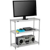 """Nexelate™ Silver Epoxy (3) Shelf Media Stand, 72""""W x 14""""D x 34""""H"""