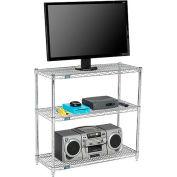 Nexel - 60 x 14 (3) Shelf Media Stand - Chrome