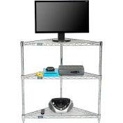 Nexel - 32 x 24 (3) Shelf Corner Media Stand - Chrome