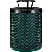 Global Industrial™ Thermoplastic Coated 32 Gallon Mesh Receptacle w/Rain Bonnet Lid - Green
