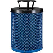 Global Industrial™ Thermoplastic Coated 32 Gallon Mesh Receptacle w/Rain Bonnet Lid - Blue