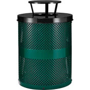 Global Industrial™ Thermoplastic 32 Gallon Perforated Receptacle w/Rain Bonnet Lid - Green