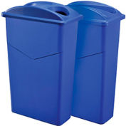 Global Industrial™ Recycling System For Paper/Bottles & Cans, 46 Gallon, Blue