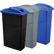 Global Industrial™ Recycling System For Paper/Bottles & Cans, 69 Gallon, Gray/Blue/Black
