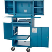 Mobile Fold Out Computer Cabinet - Blue (Assembled)
