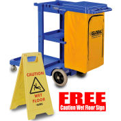 Global™ Janitor Cart Blue w/FREE Caution Wet Floor Sign