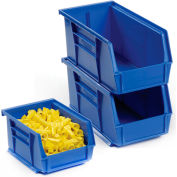 Plastic Stacking And Hanging Bin 5-1/2x10-7/8x5 with 24 Free Parts Bins, Blue
