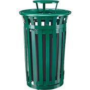 Global Industrial™ Outdoor Metal Slatted Waste Receptacle w/Access Door, Rain Bonnet 36 Gal GN