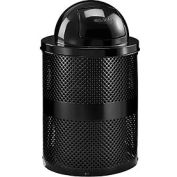 Global Industrial™ Thermoplastic Coated 32 Gallon Perforated Receptacle w/Dome Lid - Black