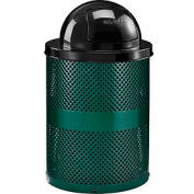 Global Industrial™ Thermoplastic Coated 32 Gallon Perforated Receptacle w/Dome Lid - Green