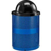 Global Industrial™ Thermoplastic Coated 32 Gallon Perforated Receptacle w/Dome Lid - Blue