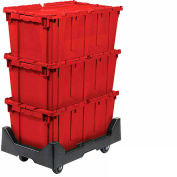 Attached Lid Shipping Container 27-3/16 x 16-5/8 x 12-1/2 Red with Dolly Combo