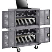 32-Device Charging Cart for Chromebooks™ Laptops and iPad® Tablets - Gray, Unassembled